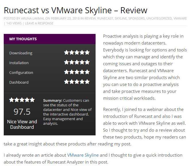 Runecast vs VMware Skyline