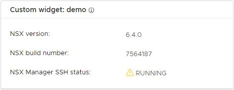 vSphere 6.4 NSX Custom Widget Demo Warning