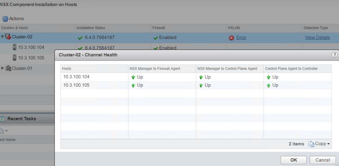 NSX Channel health