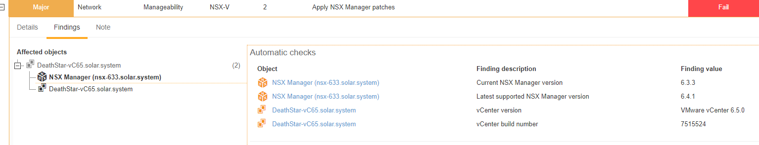 NSX objectsdisplayed in findings