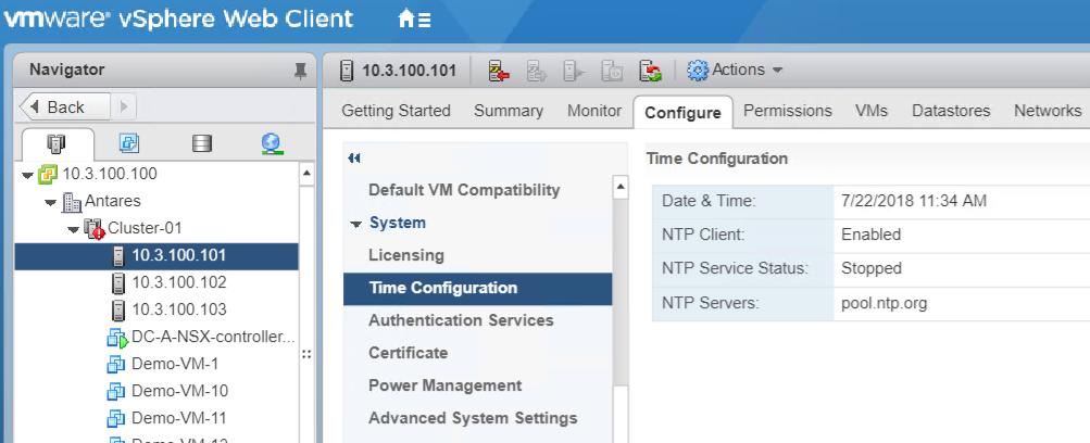 NSX host NTP