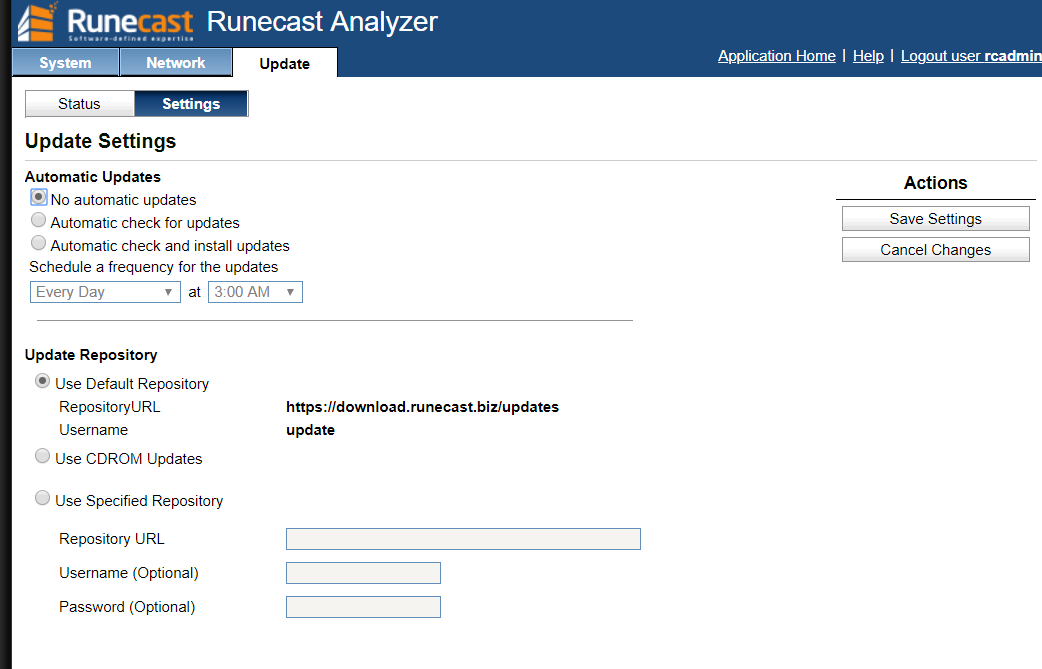 Runecast analyzer update settings
