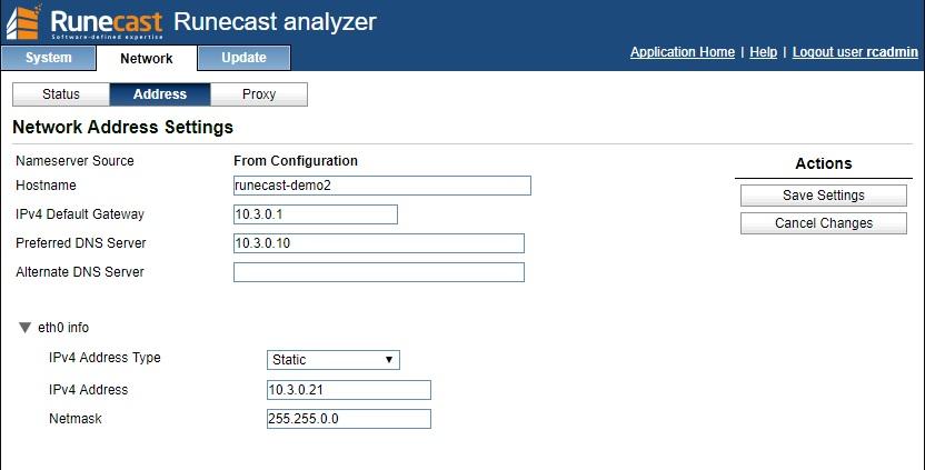 Runecast Analyzer Network Access Settings