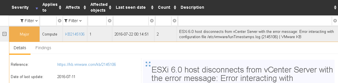 ESXi 6.0 host disconnects from vCenter Server with smartd enabled