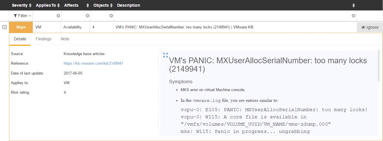 Runecast Analyzer List of Issues VMware KB