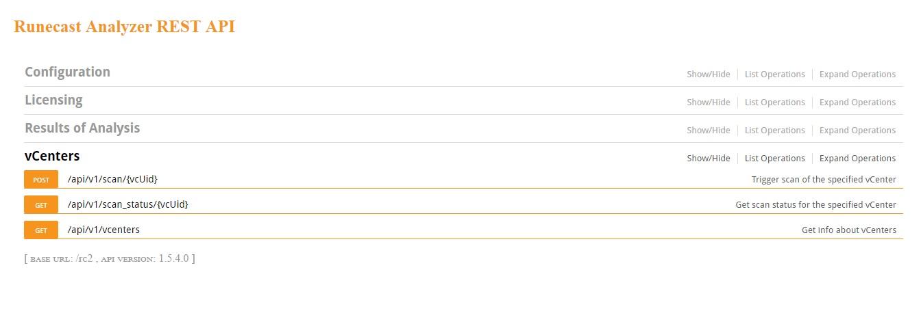 Runecast Analyzer REST API